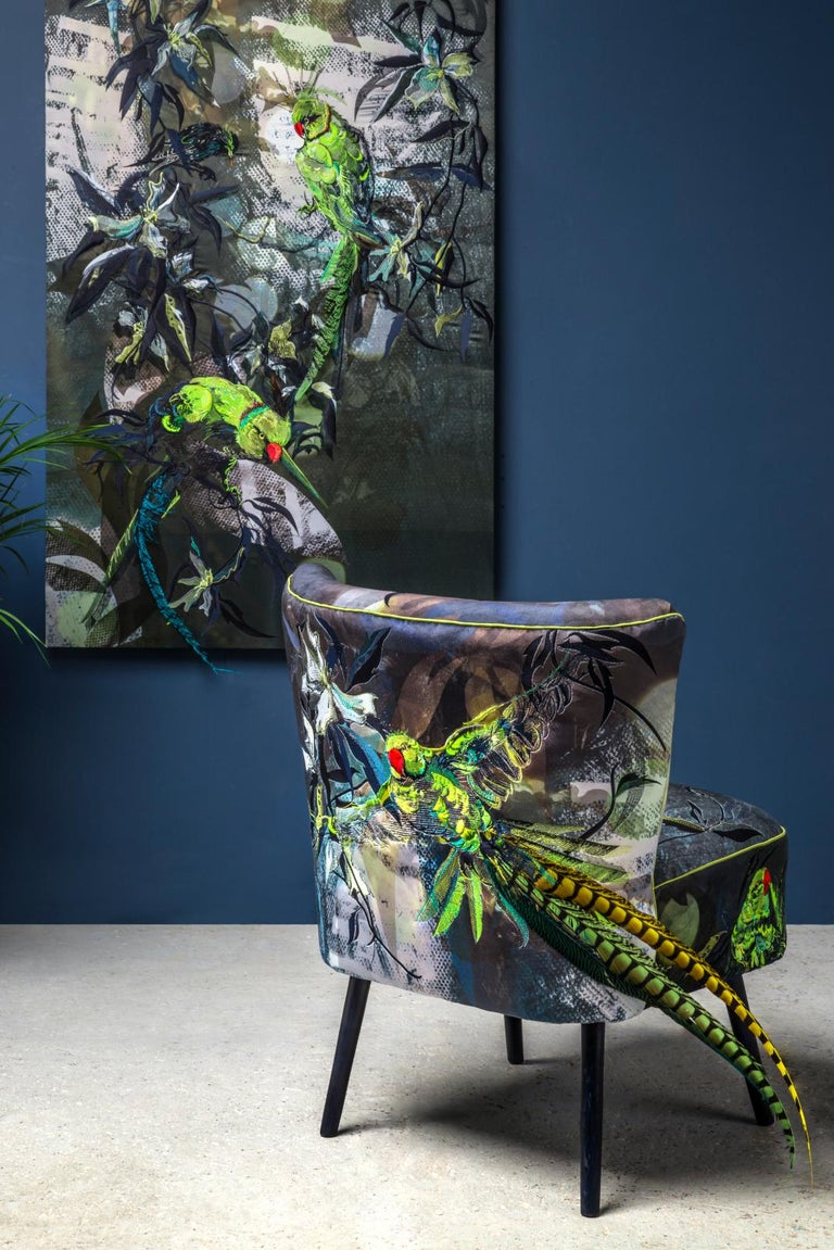 British Blue Parrot, Contemporary English Two Armchairs in Velvet And Embroidery For Sale