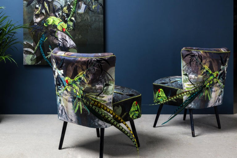 Blue Parrot, Contemporary English Two Armchairs in Velvet And Embroidery In New Condition For Sale In New York, NY