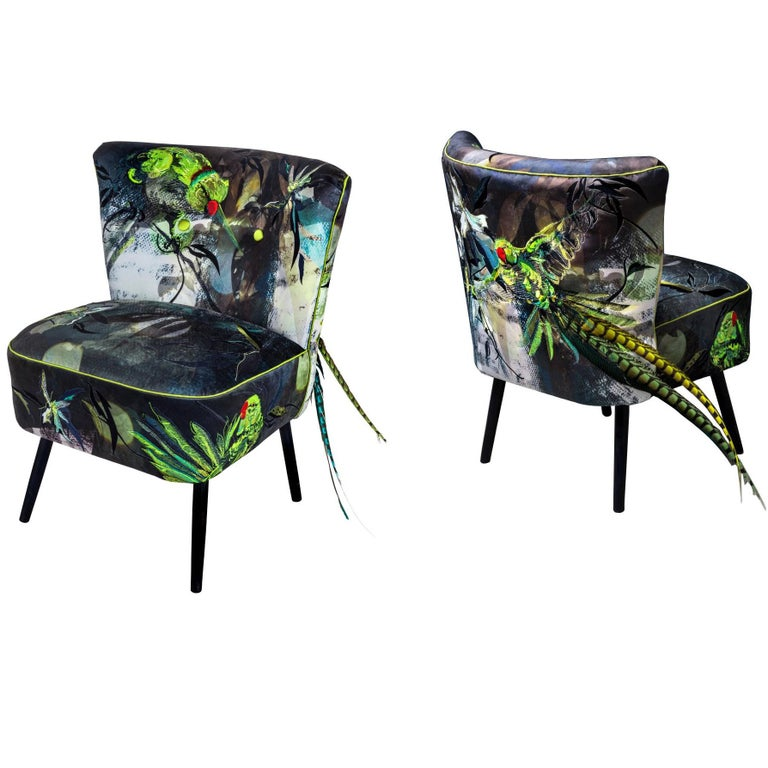 Blue Parrot, Contemporary English Two Armchairs in Velvet And Embroidery For Sale