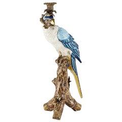Blue Parrot Sculpture Candleholder