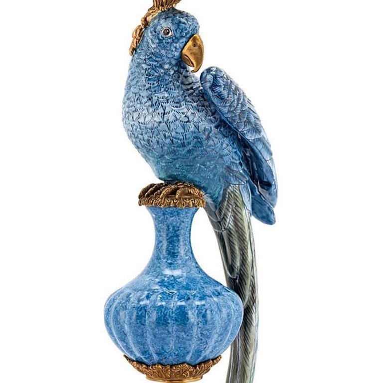 Contemporary Blue Parrot Set of 2 Candleholder in Porcelain For Sale