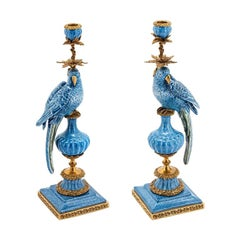 Blue Parrot Set of 2 Candleholder in Porcelain