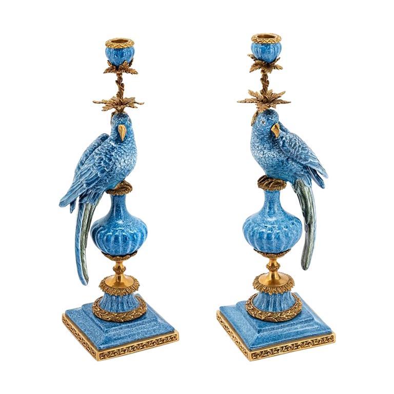 Blue Parrot Set of 2 Candleholder in Porcelain For Sale