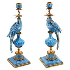 Blue Parrot Set of 2 Candleholder in Porcelain