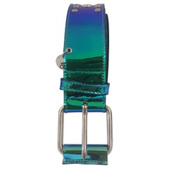 Blue Patent Leather handmade belt