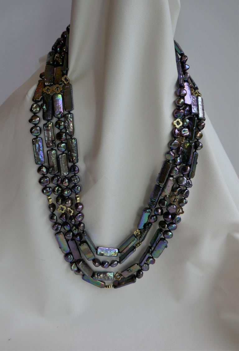 Women's Blue  Peacock Cultured Pearls Gold Plated Hematite Marcasite 925 Silver Necklace For Sale