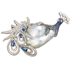 Blue Pearl Blue Sapphires White Diamonds Brooch Aenea Jewellery
