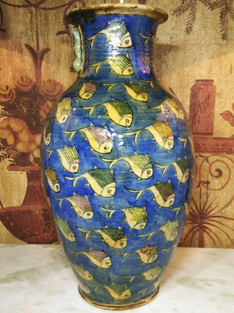 Mid-20th Century Blue Persian Ceramic Fish Vase For Sale
