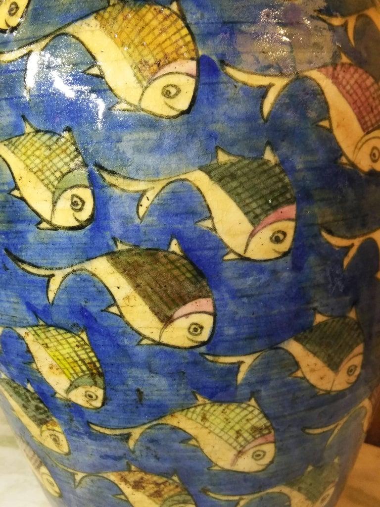 Blue Persian Ceramic Fish Vase For Sale 1