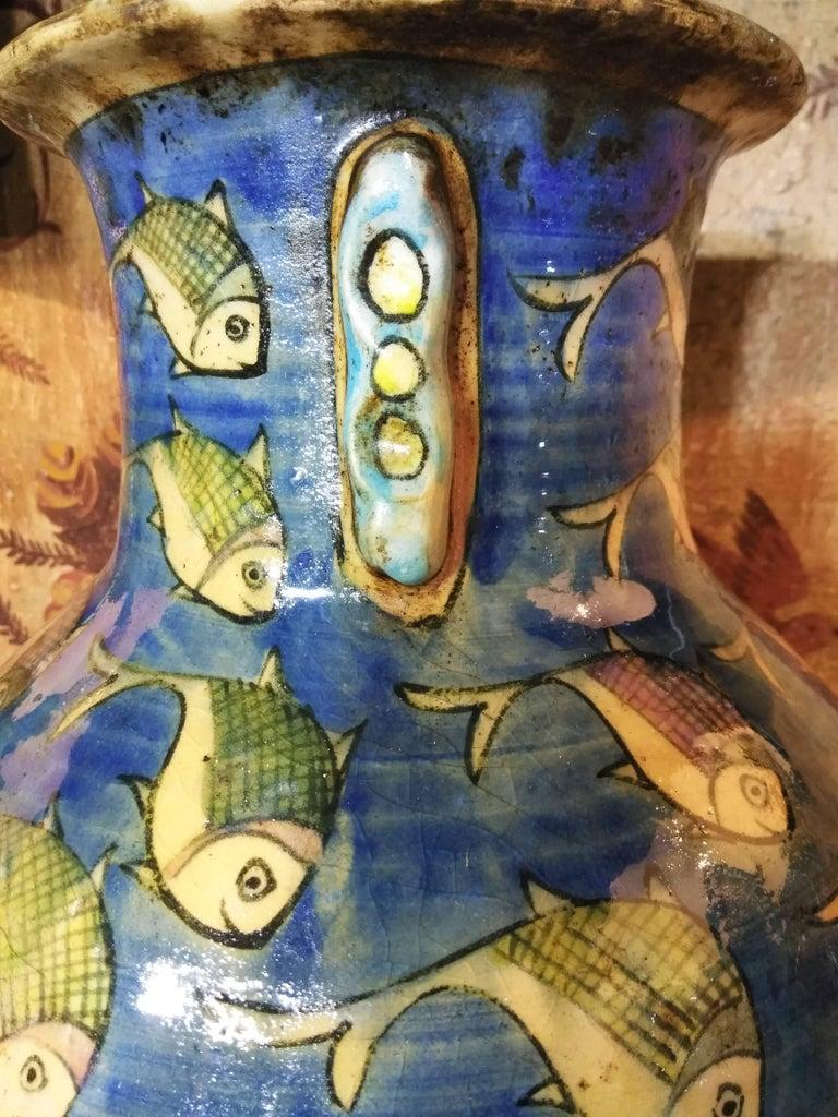Blue Persian Ceramic Fish Vase For Sale 3