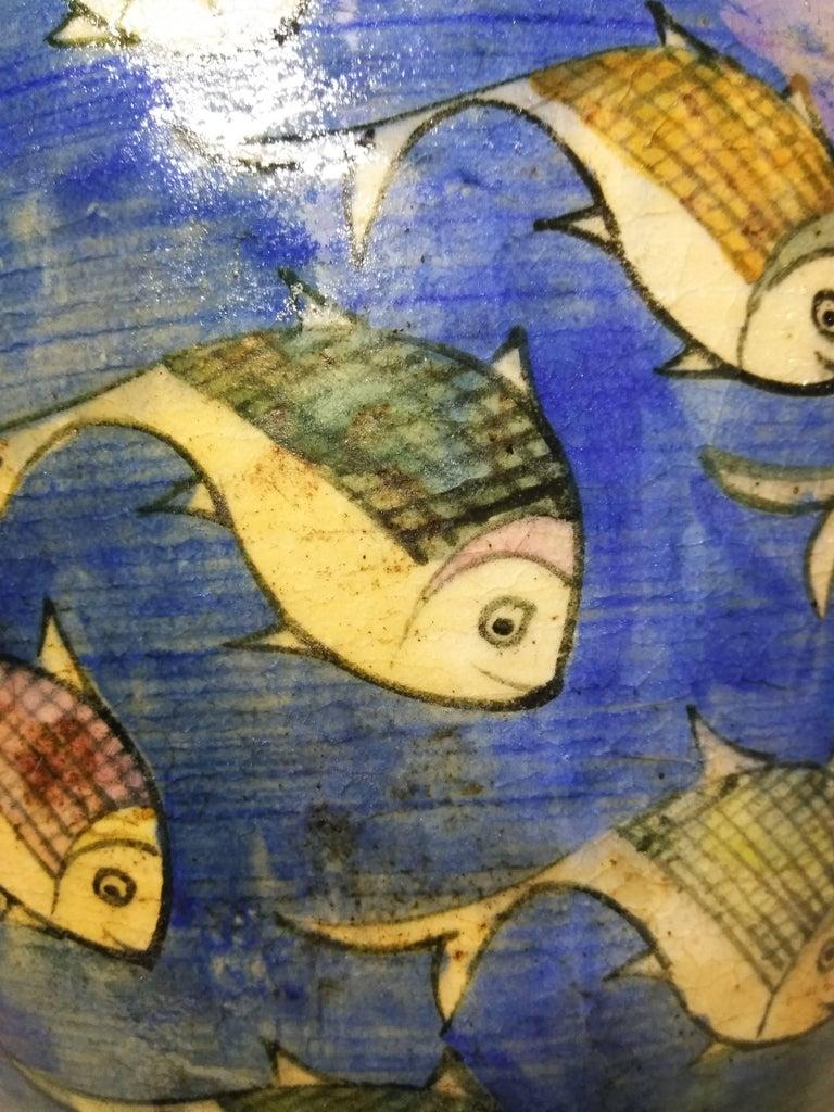 Blue Persian Ceramic Fish Vase For Sale 4