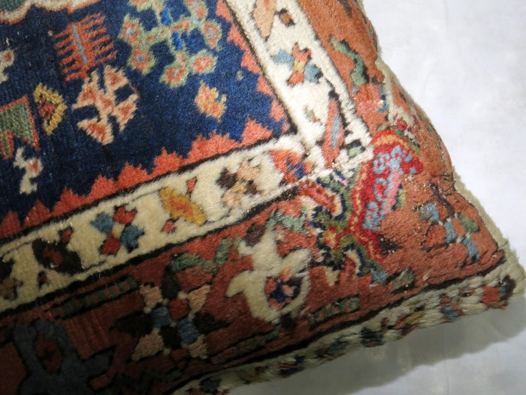 Folk Art Blue Persian Heriz Rug Pillow For Sale