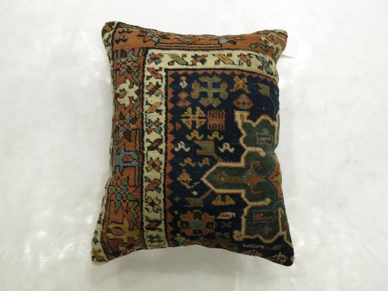 Hand-Woven Blue Persian Heriz Rug Pillow For Sale