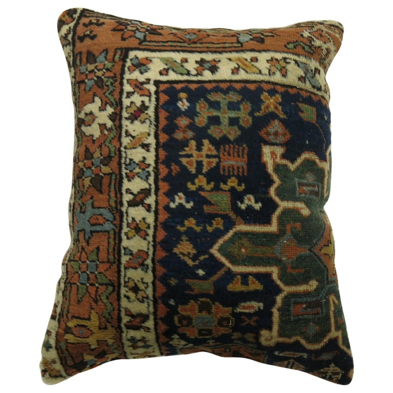 Blue Persian Heriz Rug Pillow For Sale