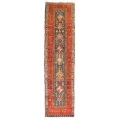 Blue Persian Heriz Serapi Tribal Runner, Early 20th Century