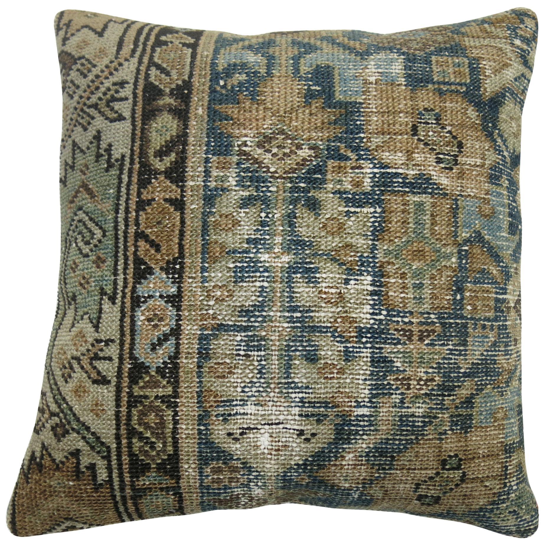 Blue Persian Malayer Rug Pillow