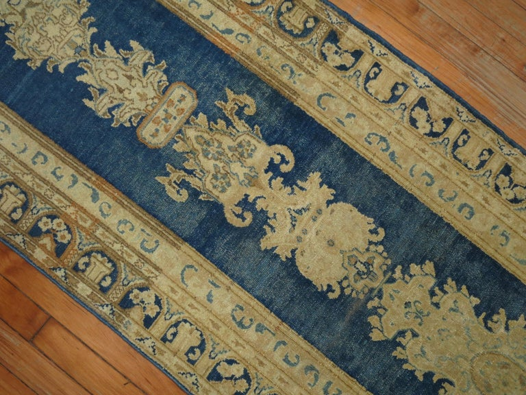 Hand-Knotted Blue Persian Runner For Sale
