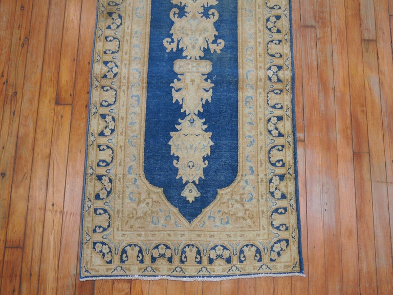 Wool Blue Persian Runner For Sale