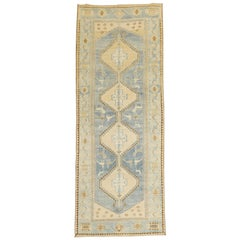 Blue Pigeon Motif Persian Malayer Runner, 20th Century