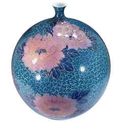 Japanese Contemporary Blue Pink Green Gold Porcelain Vase by Master Artist
