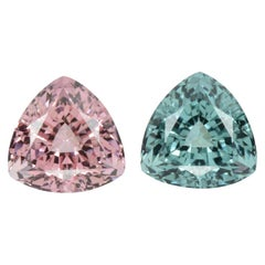Blue Pink Tourmaline Earrings Gemstone Pair 8.49 Carat Loose Gems