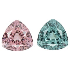 Blue Pink Tourmaline Earrings Pair 8.49 Carat