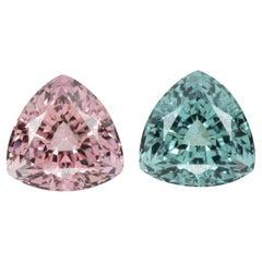 Blue Pink Tourmaline Earrings Gemstone Pair 8.49 Carat Loose Unset Gems