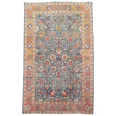 Blue Pink Traditional Persian Tabriz Rug