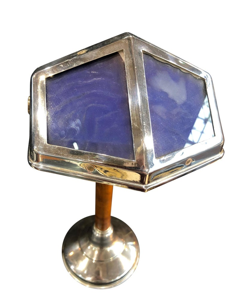 French Blue Pirouette Table Lamp with Wooden Shaft, France, 1940s For Sale