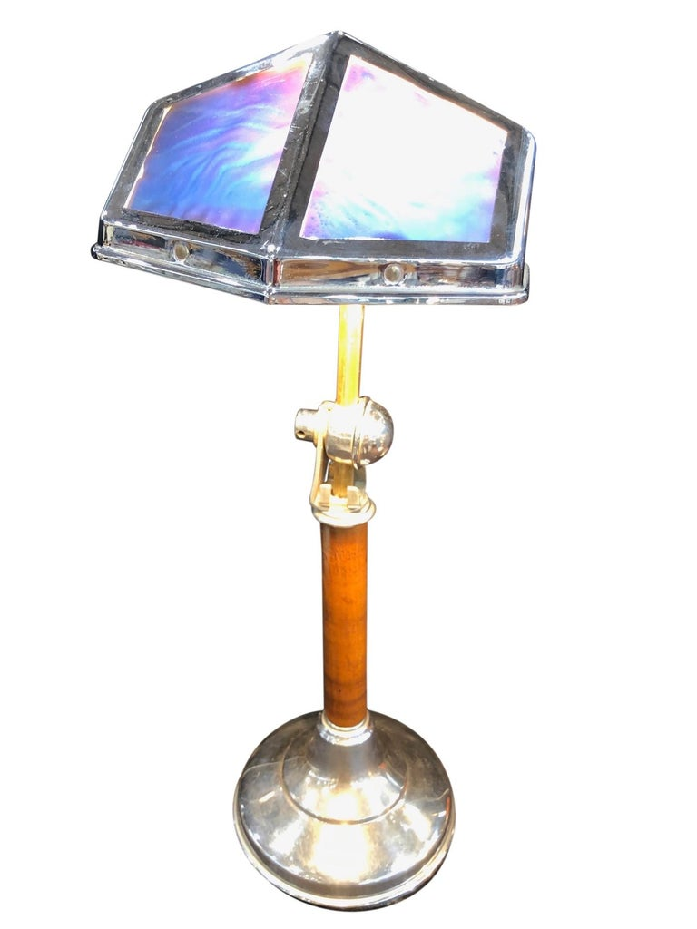 Polychromed Blue Pirouette Table Lamp with Wooden Shaft, France, 1940s For Sale
