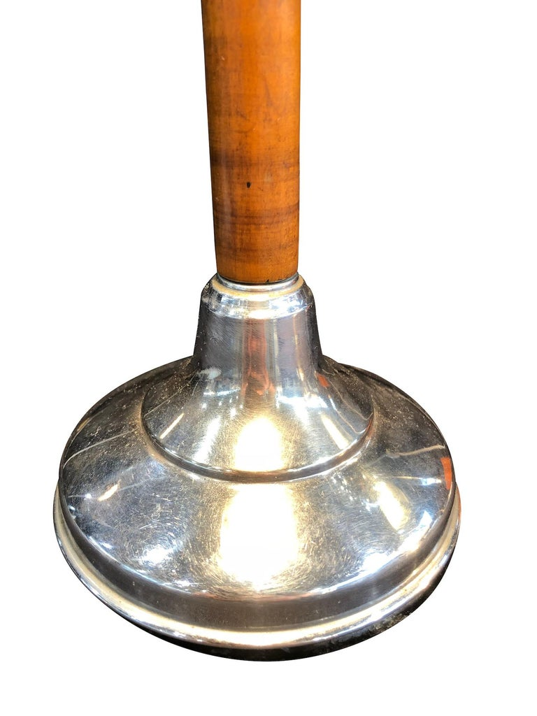 Metal Blue Pirouette Table Lamp with Wooden Shaft, France, 1940s For Sale