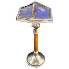 Blue Pirouette Table Lamp with Wooden Shaft, France, 1940s