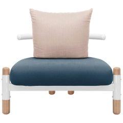 Blue PK15 Single Seat Sofa, Carbon Steel Structure & Wood Legs by Paulo Kobylka