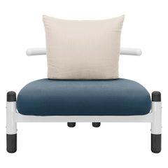 Blue PK15 Single Seat Sofa, Steel Structure and Ebonized Legs by Paulo Kobylka