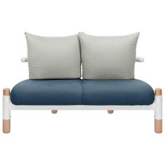 Blue PK15 Two-Seat Sofa, Carbon Steel Structure & Wood Legs by Paulo Kobylka