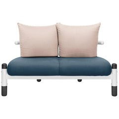 Blue PK15 Two-Seat Sofa, Steel Structure and Ebonized Wood Legs by Paulo Kobylka