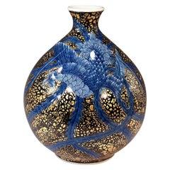 Contemporary Japanese Blue Black Platinum Porcelain Vase by Master Artist