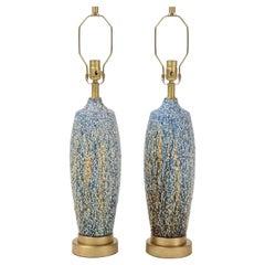 Blue, Polychrome Bubble Glazed Porcelain Lamps