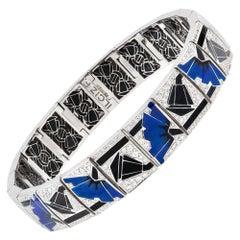Blue Poppies Art Deco Style Bracelet by Ilgiz F