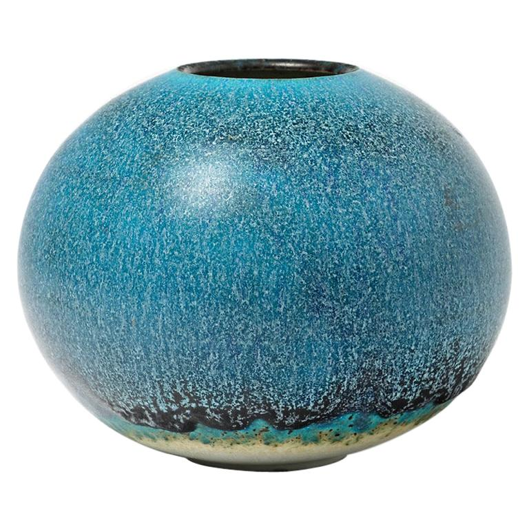 Blue Porcelain Ceramic Vase by Limosino French Pottery Decoration