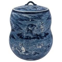 Blue Porcelain Mizusashi Jar by Japanese Contemporary Master Artist