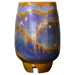 Blue Yellow Porcelain Vase by Contemporary Japanese Master Artist