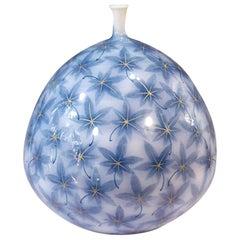 Contemporary Blue Porcelain Vase by Japanese Master Artist