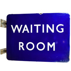 """Blue Porcelain """"Waiting Room"""" Double Sided Sign"""