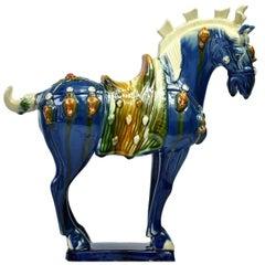 Blue Pottery Horse, Chinese San Cai Glaze