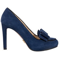 Blue Prada Suede Pumps