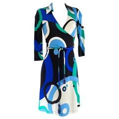 FLORA KUNG Mock Wrap blue silk dress with detachable cord belt NWT