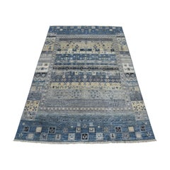 Blue Pure Wool Kashkuli Gabbeh Pictorial Hand Knotted Oriental Rug