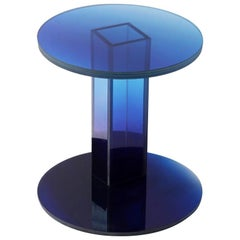 Blue Purple Glass Clear Transition Color Side Table Customizable
