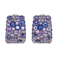 Blue Purple Sapphires 18 Karat White Gold Riviera Earrings